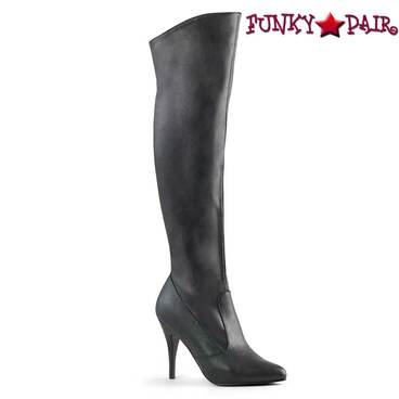 Vanity-2013, Pull On Cuffed Knee Boot | Pleaser color Black Faux Leather