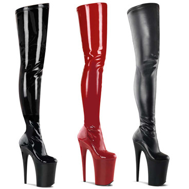 Infinity-4000, 9 Inch Stretch Crotch Boot by Pleaser