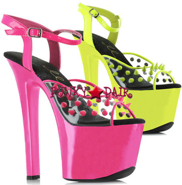 711-Solar, 7 Inch High Heel with 2.75 Inch Neon Platform with Spikes Made By ELLIE Shoes