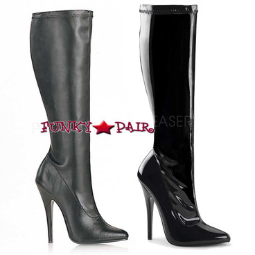 Devious   Domina-2000 Stiletto Knee High Boots Color available: Black Shiny Patent and Black Faux Leather