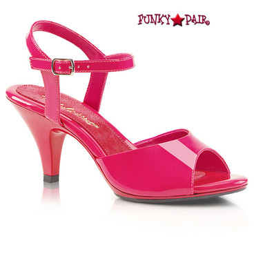 "Pleaser Belle-309, 3"" Hot Pink Low Heel Ankle Strap Evening Sandal"