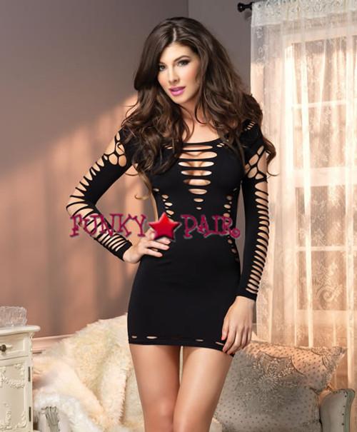 LA87039, Seamless Shredded Mini Dress