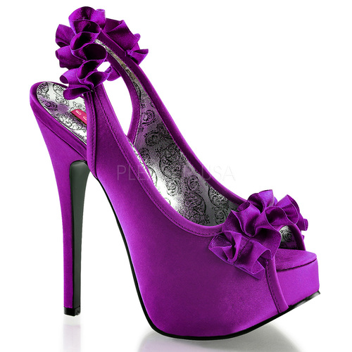 Bordello | Teeze-56, Peep Toe Sling Back Pump color purple
