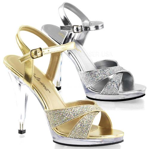 Flair-419G, 4.5 inch Multi-Glitter Criss Cross Straps Sandal Size (5 - 16)