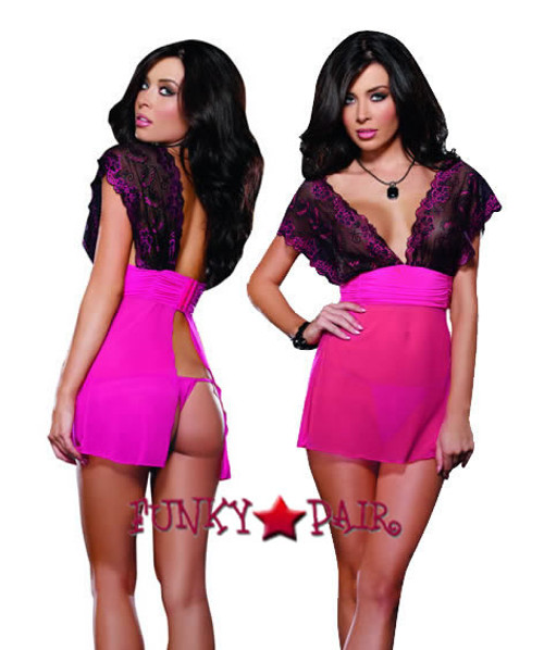 DG-8621 * Come Hither Lace and Mesh Babydoll