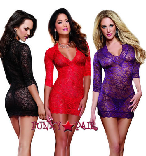 DG-8628 * Lace Deep-V Tunic