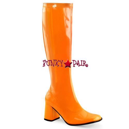 Orange Neon UV GoGo Boots