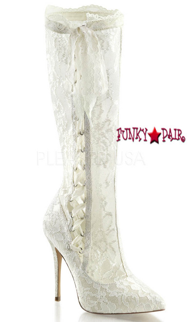 AMUSE-2012, High Platform5 inch high heel knee high lace boots with side lace-up