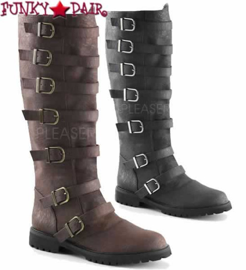 Gotham-110, Men's Multi Buckle Straps Knee High Boots