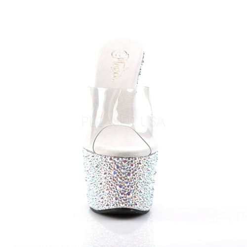 Pleaser Shoes | Bejeweled-701MS, Multi-Rhinestones Platform Slides front view