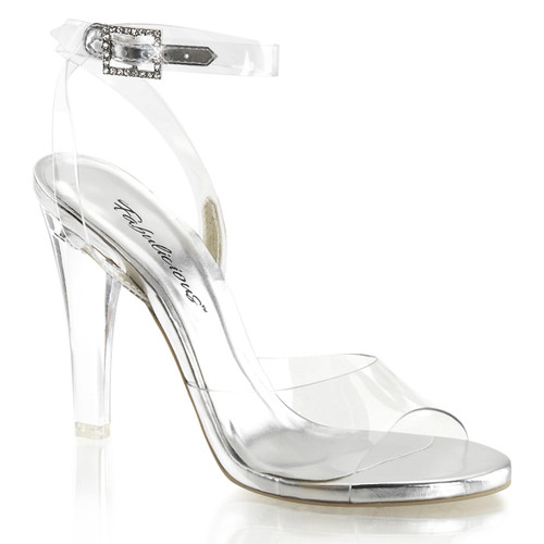 "4.5"" Heel Clear Ankle Strap Sandal Fabulicious 