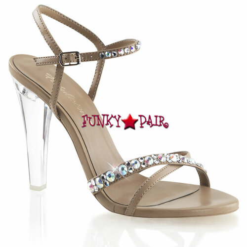 Clearly-415, 4.5 Inch Clear Heel Criss Cross Sandal Pleaser Shoes