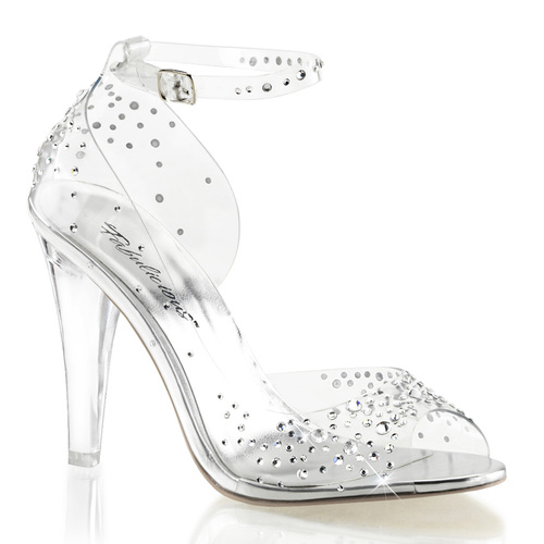 "Clearly-430RS, 4.5"" Heel Clear Ankle Strap Sandal with Rhinestones Fabulicious 