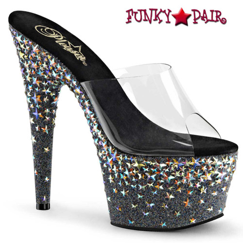 Pleaser | Starsplash-701, Silver Star Hologram Slides