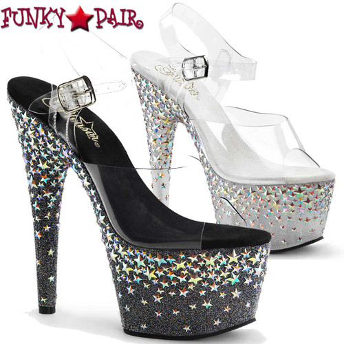Pleaser | Starsplash-708, Silver Star Hologram Platform Shoes