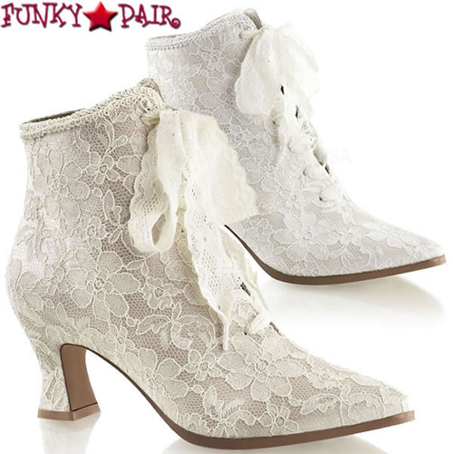 Victorian-30, Lace Up Ankle Booties with lace overlay | Fabulicious