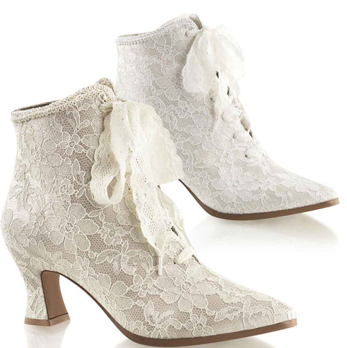 Victorian-30, Lace Up Ankle Booties | Costume Shoes