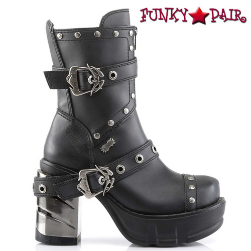 Demonia SINISTER-201, Chunky Chrome Heel Strap Studded Ankle Boot