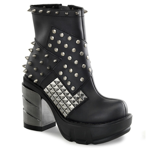 SINISTER-64, Chrome Chunky Heel Ankle Bootie with Spikes & Pyramid Studs by Demonia