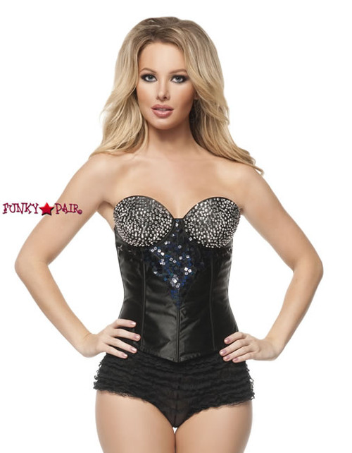 C1397, Black Corset With Silver Rhinestones Made by Mysery House