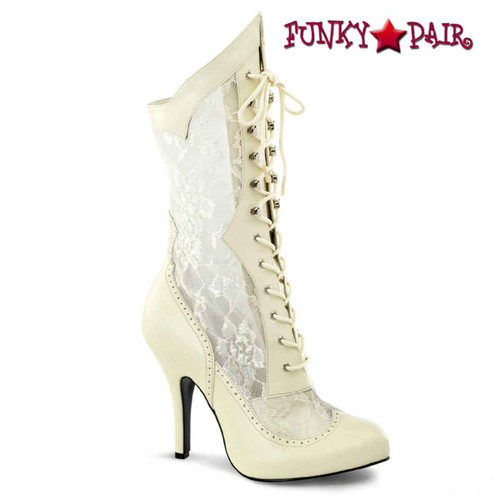 Victorian-116X, Wide Width Lace Ankle Boots | Funtasma color cream