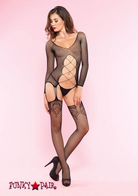 89129, Net Long Sleeve Suspender Bodystocking