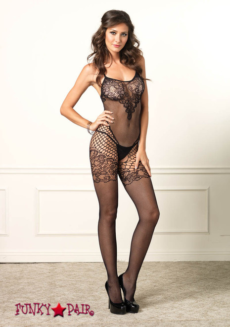 89136, Dual Net Bodystocking with Lace Bodice
