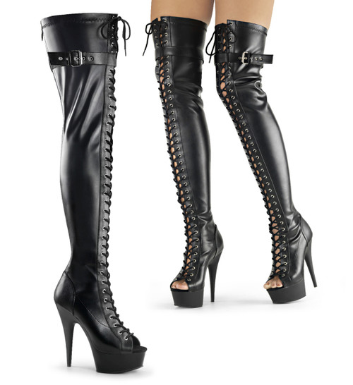 Delight-3025, 6 Inch Exotic Dancer Front Lace-up Thigh High Boots by Pleaser