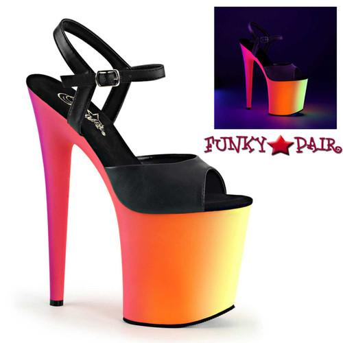 Pleaser Shoes   Rainbow-809UV, Multi-Color Exotic Dancer Shoes