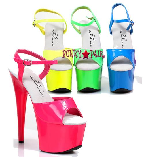 7 inch stiletto heel neon ankle strap platform.   The show glows in black light
