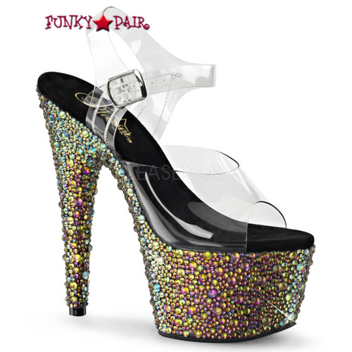 Bejeweled-708MS, 7 Inch Ankle Strap Sandal with Multi Size Rhinestones color green