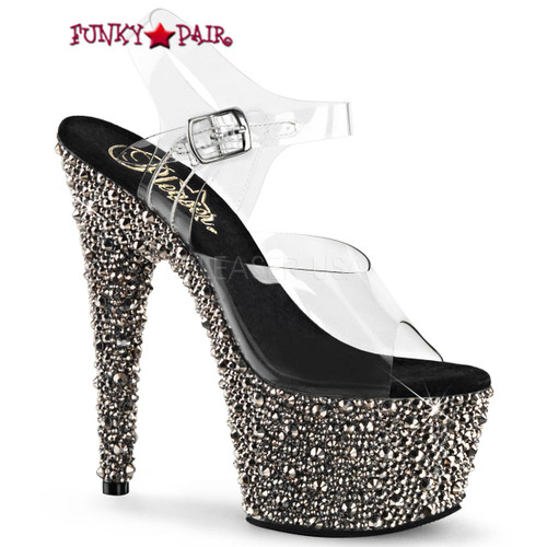 Bejeweled-708MS, 7 Inch Ankle Strap Sandal with Multi Size Rhinestones color pewter