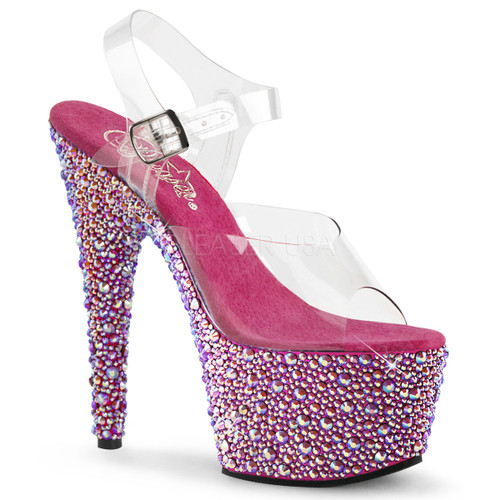 Bejeweled-708MS, 7 Inch Ankle Strap Sandal with Multi Size Rhinestones color hot pink