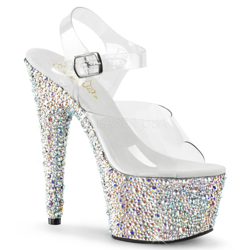 Pleaser Shoes Bejeweled-708MS, 7 Inch Ankle Strap Sandal with Multi Size Rhinestones color silver