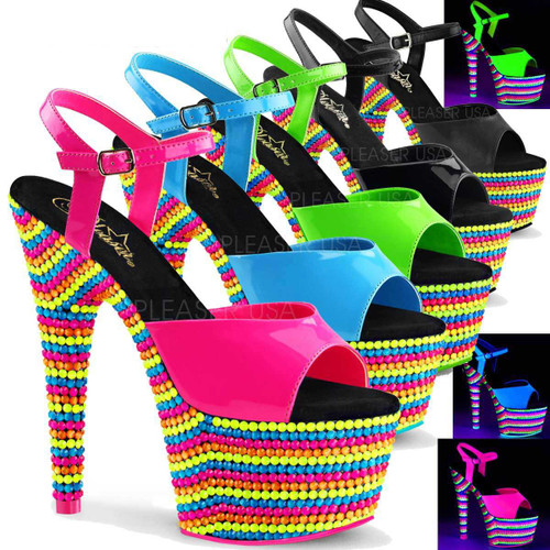 Adore-709RBS, 7 Inch Stiletto Heel Ankle Strap with Neon Reactive Platform color available: hot pink, blue, green, Black