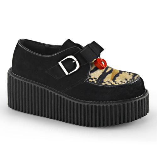 Creeper-213, 3 inch platform creeper with Heart Padlock Demonia Shoes
