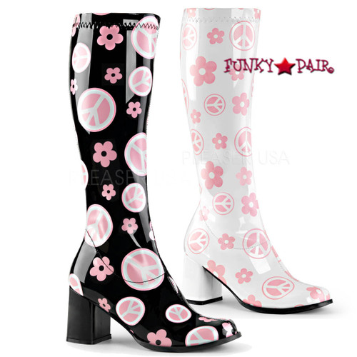 Pleaser | Gogo-300FL, Peace and Flower GoGo Boots