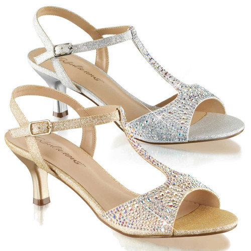 """2.5"""" kitten T-Strap Evening Sandal with Rhinestones Fabulicious   Audrey-05"""