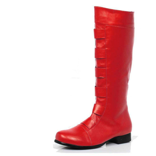 121-Marc, Men's Red Super Hero Cosplay Knee High Boots | 1031 Costume Shoes
