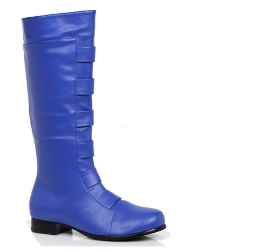 121-Marc, Men's Blue Super Hero Cosplay Knee High Boots | 1031 Costume Shoes