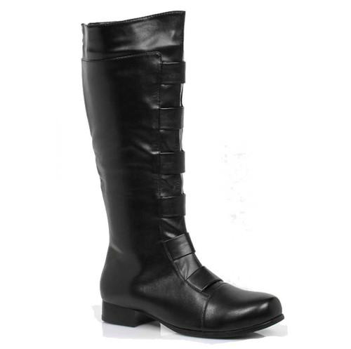 121-Marc, Men's Black Super Hero Cosplay Knee High Boots | 1031 Costume Shoes
