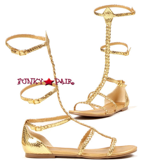 015-CAIRO, Gold Gladiator Flat COSTUME SHOES