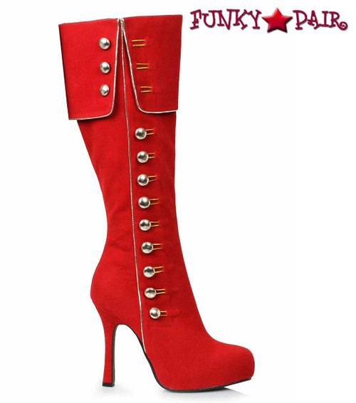 Costume Boots 420-Elda Red Knee High Boots with Side Buttons