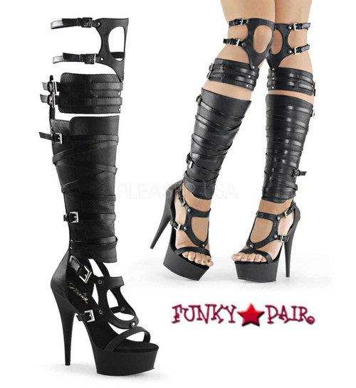 Pleaser | Delight-600-50, Open Toe Strappy Buckled Over-The-Knee Gladiator Boot