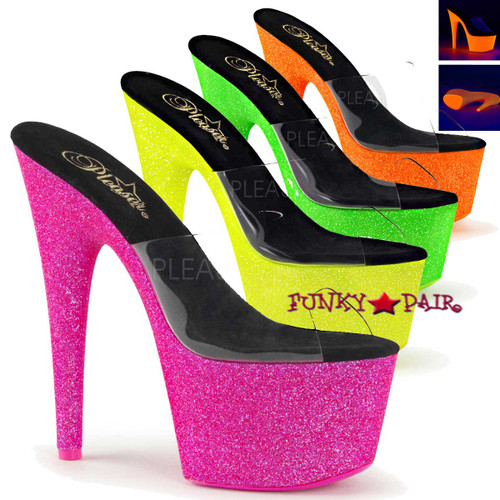 Pleaser Shoes Adore-701UVG, 7 Inch Slide with Neon UV Reactive Color available: neon pink, neon green, neon yellow