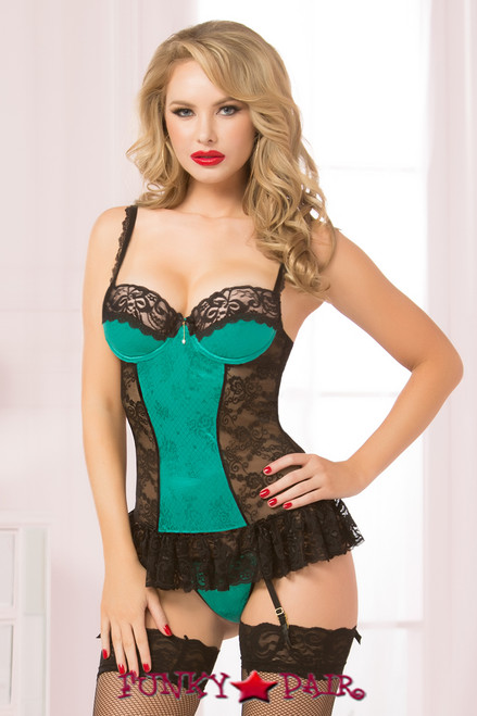 d4ab13cf3a307 STM-10573, Floral lace and stretch luster brocade satin chemise with  underwire molded cups ...