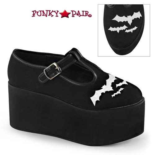 Demonia Shoes | Click-04-2, Bat Embroidery Platform Maryjane