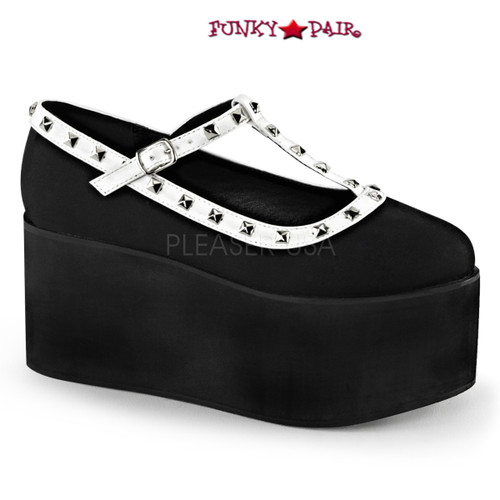 Click-07. 3.25 Inch Two Tone T-Strap Maryjane with Studs Color Blk Canvas-Wht V.Le Demonia |