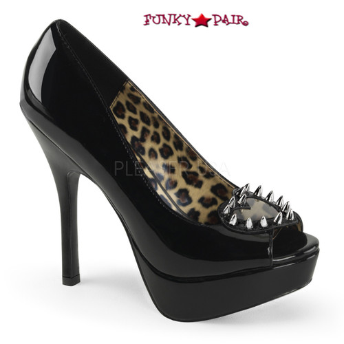 Black patent Pixie-17, 5.25 inch heel peep toe pump with Pointed Studs
