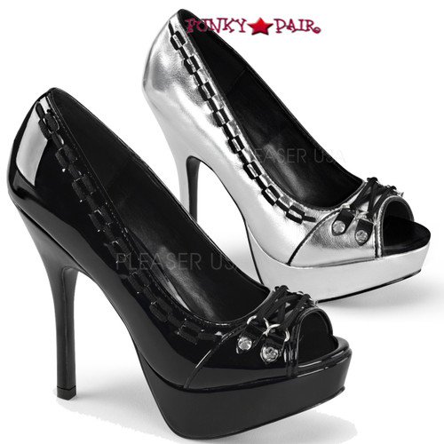 Demonia | Pixie-18, 5.25 Inch peep toe pump with Lace and Spike